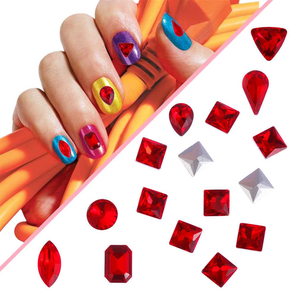 1 упаковка, сексуальные красные стразы для дизайна ногтей, 3D кристаллы стеклянные камни, блестящие стразы для дизайна ногтей, DIY, блестки, смешанные драгоценные камни