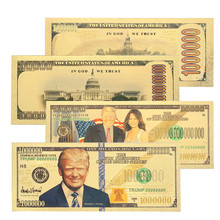 ФОТО 1 pcs gold high quality commemorative notes souvenir donald trump and the first lady realistic banknotes decoration gifts
