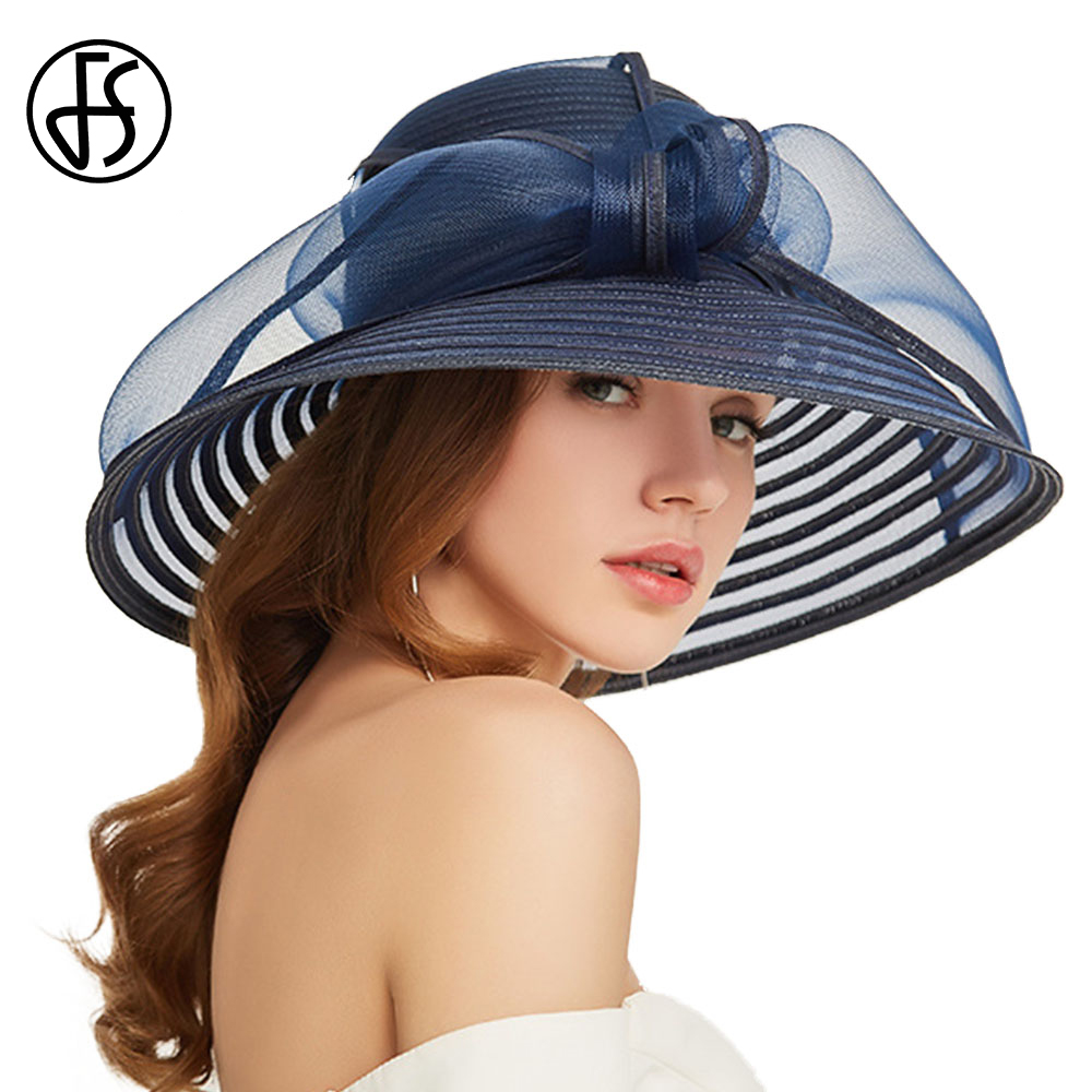 FS 2019 Elegant Floppy Foldable Summer Hat Women Beach Straw Hats Blue White Wide Brim With Bowknot Ladies Round Sun Visor Cap