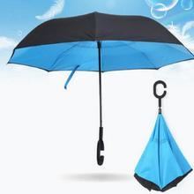 Высококачественный красивый двухслойный перевернутый зонтик автомобили Реверсивный Зонт от дождя C-Handle солнцезащитный
