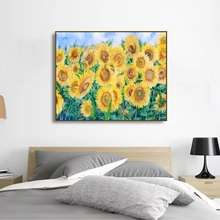 Laeacco Vincent Van Gogh Artwork Golden Sunflower Posters and Prints Floral Canvas Painting Modern Wall Picture for Living Room