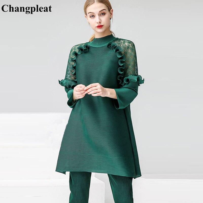 Chagnpleat 2019 printemps nouveau femmes col montant t-shirts hauts Miyak plissé mode lâche solide grande taille femme T-shirts Tide T90