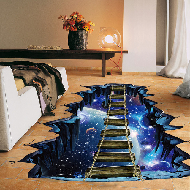 3D Effect Wooden Floor Outer Space Wall Stickers Removable Home Decoration  Wallpaper Waterproof Wall Decals