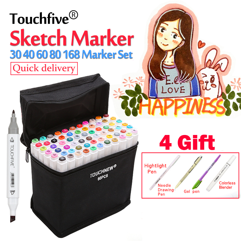 TouchFIVE Art Markers 30/40/60/80 Colors Alcoholic Oily Based Ink Art Marker Set Best For Manga Dual Headed Art Sketch Markers touchfive marker 60 80 168 color alcoholic oily based ink marker set best for manga dual headed art sketch markers brush pen