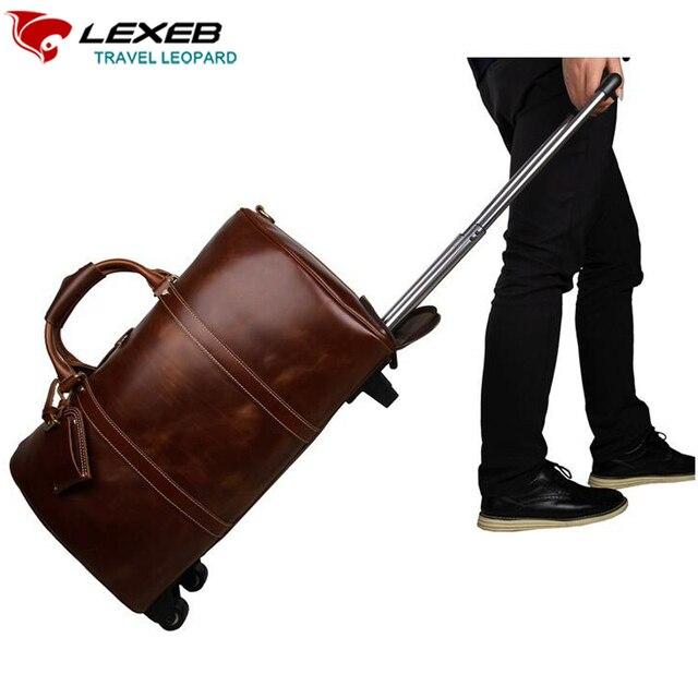 Bolsas de Viaje equipaje LEXEB Marca Cuero Genuino de Los Hombres Bolsa De Maletas de 21 Pulgadas Bolso Del Negocio Sobre Ruedas de Diseño de Lujo café