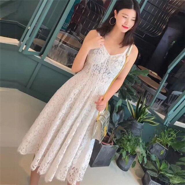 Сладкий Платья для женщин для Для женщин длинные белые Кружево платье без рукавов длиной до колен Спагетти ремень платье