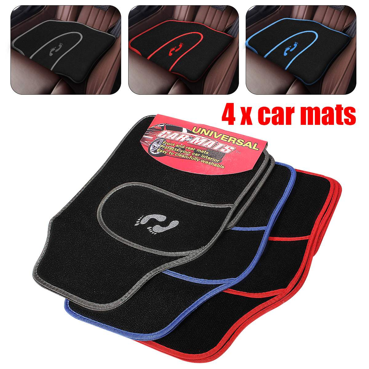 4 Pcs Universal Car Floor Mats Carpet Non-Slip GRIP Feet Pattern All Weather Mat title=