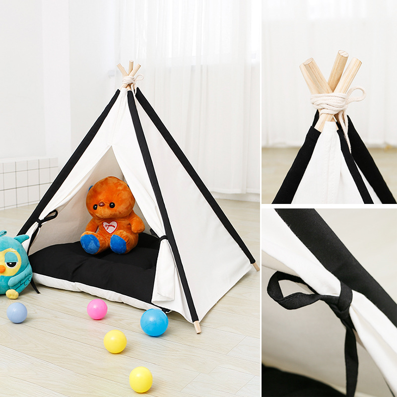 Tent Cat and Dog Open Fabric Wooden Pet House Portable Foldable Playhouse for Kids Indoor  Triangle TentsTent Cat and Dog Open Fabric Wooden Pet House Portable Foldable Playhouse for Kids Indoor  Triangle Tents