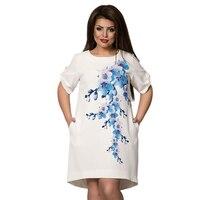 2017 Summer Dress 5xl 6xl Floral Chic White Dress Vintage Half Sleeve Plus Size Dress Casual