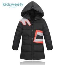 Kidsweety Kids Down Coats Boys Girls Thick WDD Straight Hooded Geometric Pattern Zipper Print Warmth Fashion Kid Long Down Coat