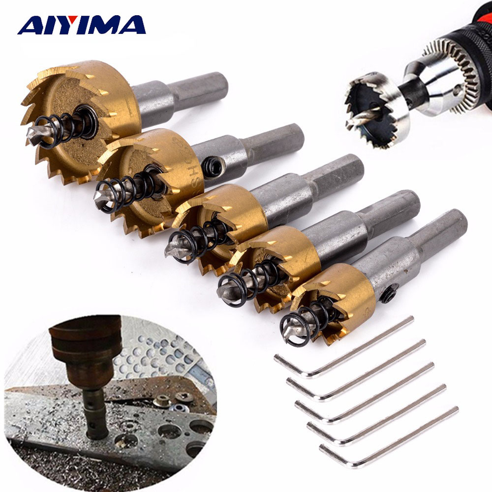 Aiyima 5Pcs HSS Hole Saw Drill Stainless Steel Alloy Metalworking Milling Cutter Alloy Opener 16-30MM Bit Handle Drilling Tools 1pc 16mm carbide tip drill bit set hole saw cutter durable metalworking drilling tools for metal alloy high quality