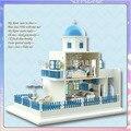A019 большой замок голосовые огни и muisc diy деревянный кукольный домик миниатюрный кукольный дом игрушки девушки