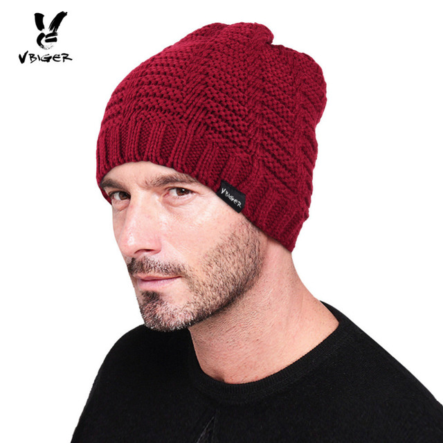 VBIGER Men Women Winter Knit Hat Skullies Beanies Warm Chunky Outdoor Wool  Hat Cap Ribbed Knitted Beanie Cap Bonnet ff8b1c99f67