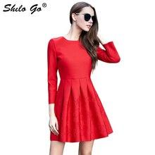 Spring Red short dress women female Elegant long sleeve ladies party festa robe femme