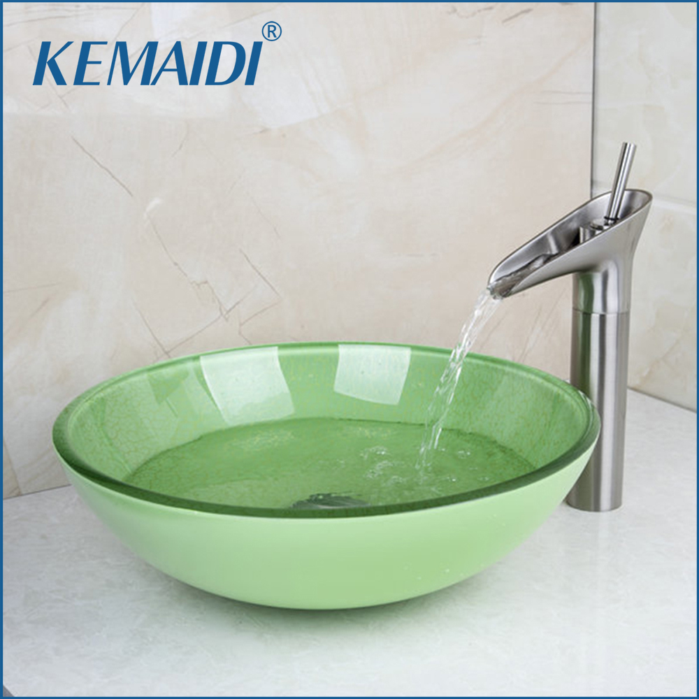 KEMAIDI Green Round Tempered Glass Wash Basin Vessel Sink With Nickel Brushed  Bathroom Faucet Glass Sink Set &Pop Up Drain new vintage style antique brass bathroom vessel sink drain basin push down pop up drain with overflow solid brass 4310