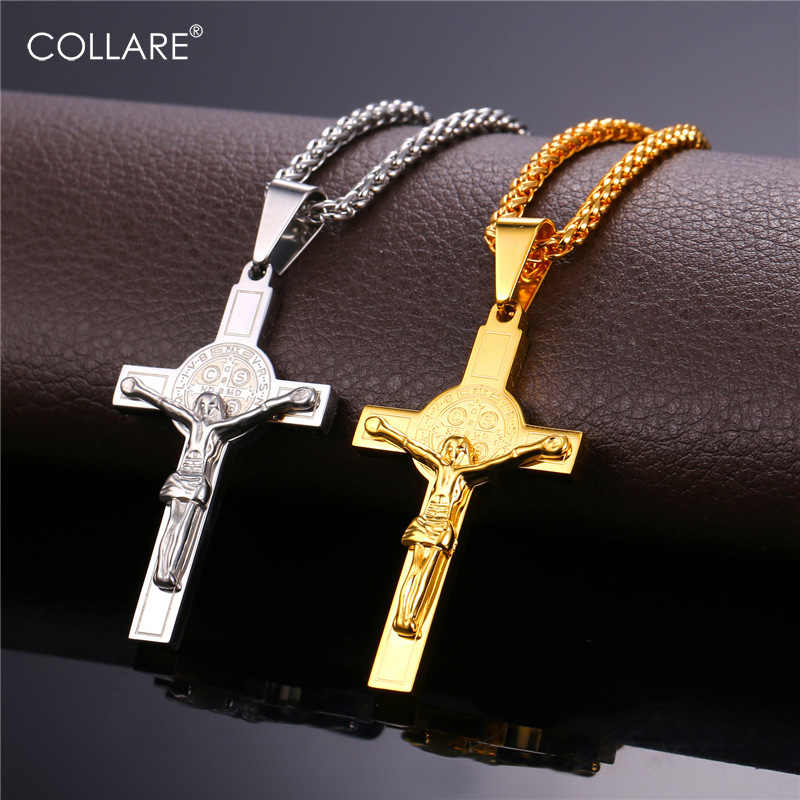 Collare INRI Crucifix Cross Pingente Stainless Steel Gold Color Pendant Wholesale Cross With Saint Benedict Medal Necklace P277