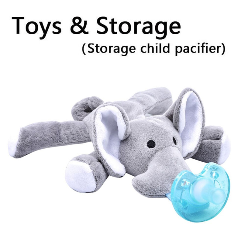 Plush Toys Baby Pacifier Removable With Lid Toy Pacifiers Dummy Feeding Elephant Model Soothing Plush toys For Newborns JE15#F