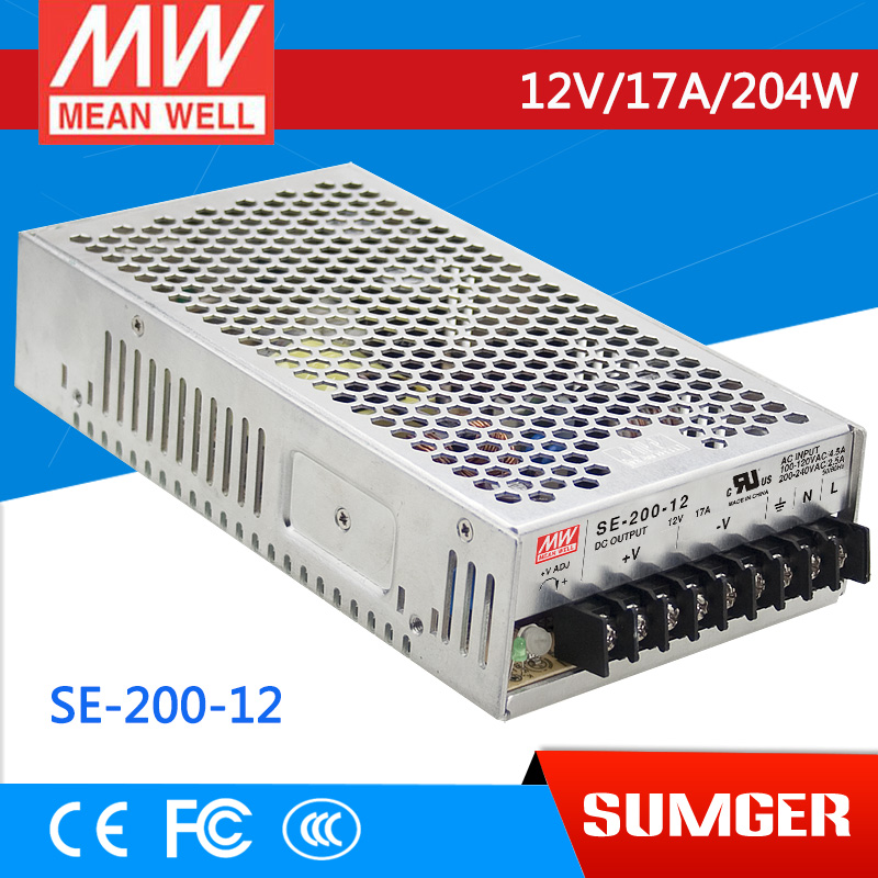 [NC-B] MEAN WELL original SE-200-12 12V 17A meanwell SE-200 12V 204W Single Output Switching Power Supply [mean well] original se 1500 12 12v 125a meanwell se 1500 12v 1500w single output power supply