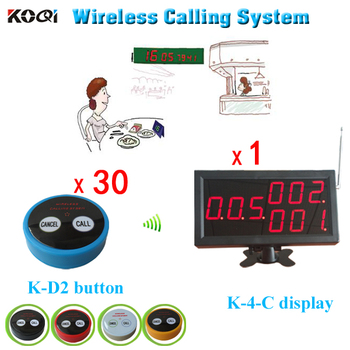 Pager System Service Request For Restaurants Wireless Calling 1 Desktop Display+30pcs Buttons