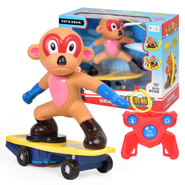 Never Fall Down RC Cute Monkey  Skateboard Light Sound Toys Flash RC Toy For Kids RC Skateboard