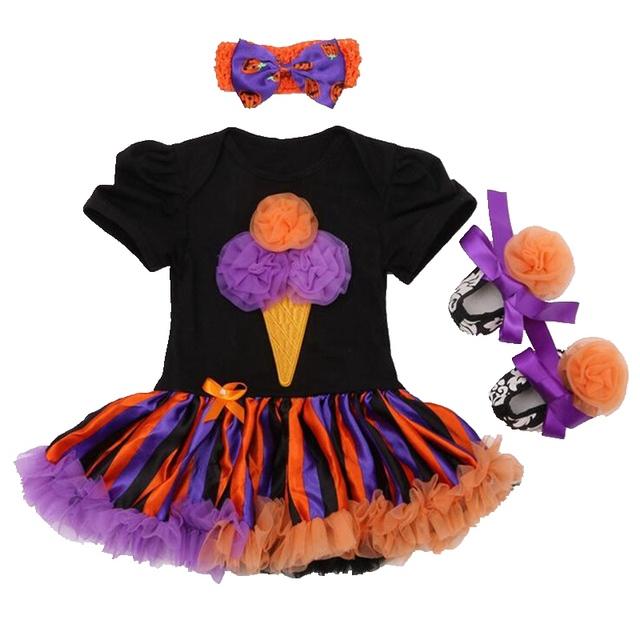 Helado Apliques 2016 Baby Girl Traje de Halloween Para Niños Atan el Mameluco Tutu Vestido con Banda de Sujeción Zapatos Recién Nacido Establece la Ropa Infantil