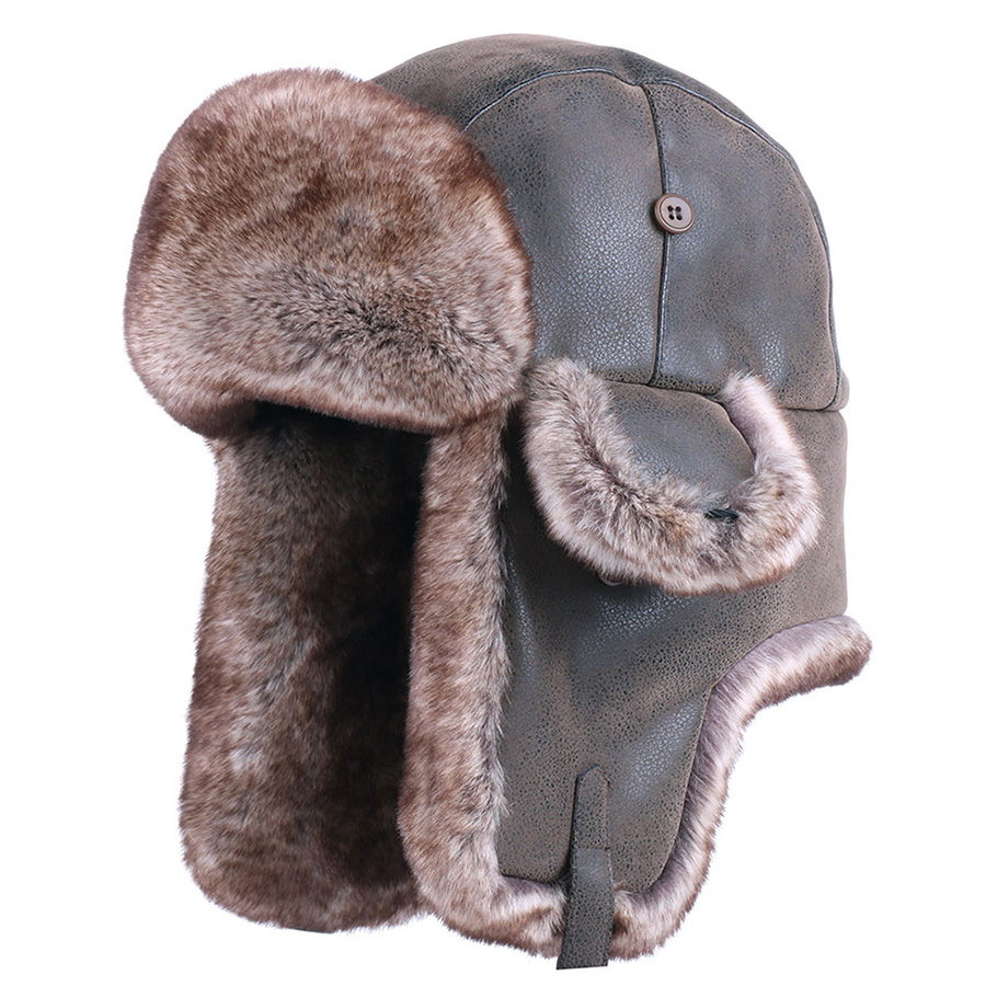 Vintage Bomber Hats Winter Men Russian Ushanka Hat Ear Flap PU Leather Snow Hat Ski Cap Faux Fur Pilot Trapper Trooper Cossack(China)