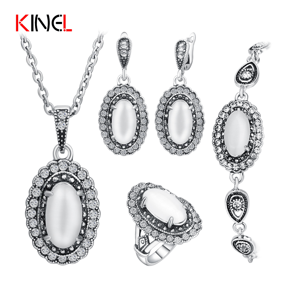 2017 NEW Silver Plated Opal Wedding Jewelry Set For Women Vintage Oval Ring/Necklace/Bracelet/Earring Crystal Jewelry 4Pcs/Sets vintage faux opal floral necklace jewelry for women