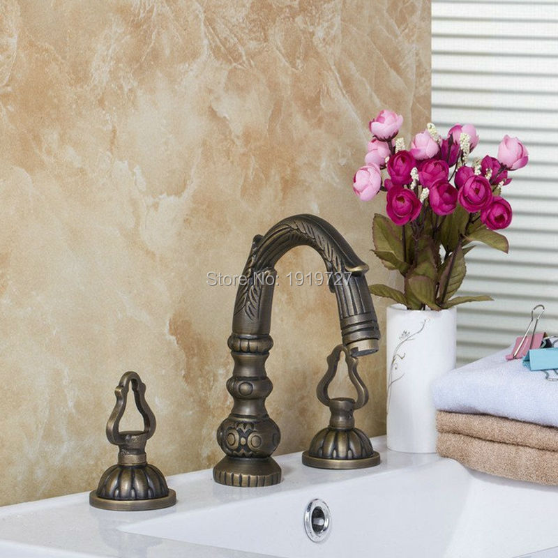 Wholesale High Quality 100% Solid Copper Ancient Lavatory Faucet Antique Country Deck Mount Classic Single Lever Bathroom Faucet chongqing quality 100% copper winding rotor