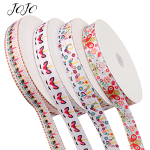 JOJO BOWS 25mm 5y Grosgrain Stain Ribbon Unicorn Printed Webbing For Needlework DIY Hair Bows Holiday Decoration Gift Packing