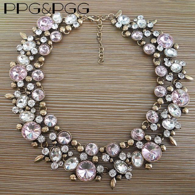 Prix pour PPG et PGG Accessoire De Mode Rose Strass Collares Bijoux En Cristal Choker Colliers Briller En Verre Déclaration Neckalce