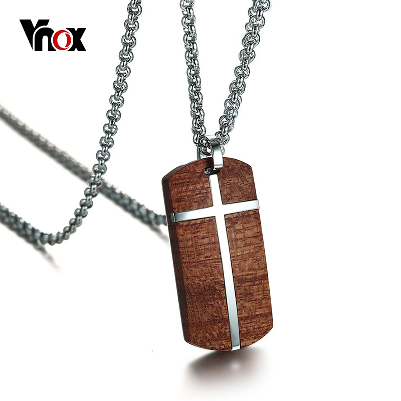 Vnox Vintage Rosewood Men Pendant Necklace Real Wood Wooden Stainless Steel Cross Office Jewelry drop shipping vintage ivory decorated carving stainless steel pendant necklace