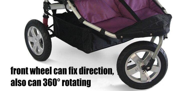 12 дюймов резиновые колеса близнецы коляска, 3 колеса Близнецы Jogger Коляска, алюминиевый сплав рама Близнецы тележка с ударопрочной