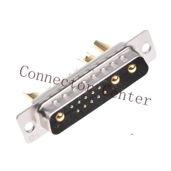 High Power 13W3 Male Solder Type D-sub Connector Machined Pin Full Gold Flash Wire Type