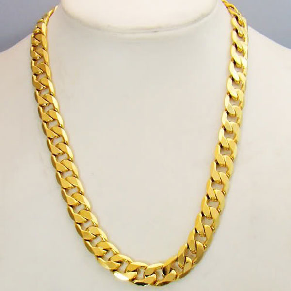 11 mm Wide 24k Yellow Gold GF Curb Link Chain Necklace 62cm Solid Mens NEW Not satisfied, 7 days no reason to refund yellow days montreal
