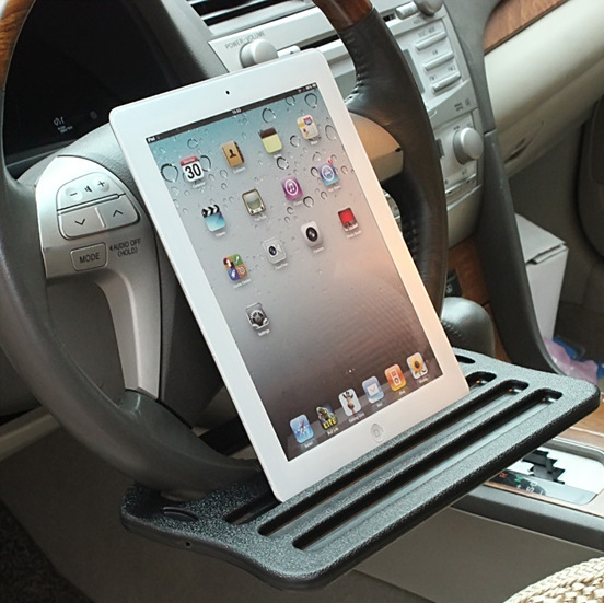 Ipad del coche del soporte de comedor mesa de clip directivo bandeja rueda sostenedor de la bebida de mesa escritorio para volante del coche negro de accesorios interior