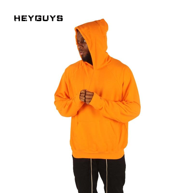 2017 HEYGUYS orange hooide wear Men sweatshirts men Hip Hop Streetwear pure Sweatshirts wear west Clothing pullover
