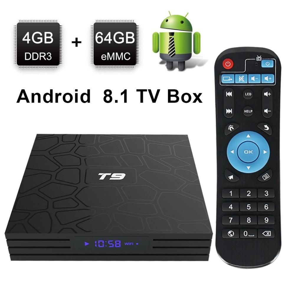 2019 T9 TV Box Android 8.1 4GB 32GB 64GB Smart TV préfixe Rockchip RK3328 1080P H.265 4K Google Play Netflix lecteur multimédia