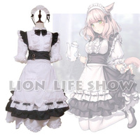 Final Fantasy XIV FF14 Miqo Te Maid Servant Uniform Dress Cosplay Costume Outfit