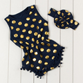 New arrival baby girls  and boys bubble rompers navy  gold dot print toddler children cotton pompom romper  suits for 0-3years