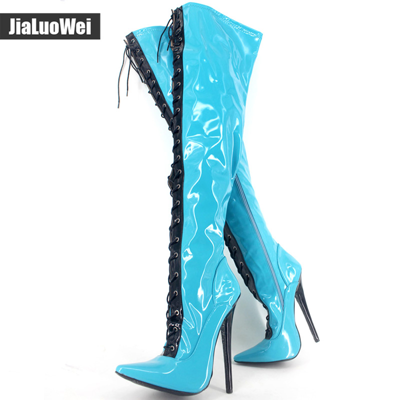 Extreme High Thin Heel 18cm Sexy Over-the-knee Long Boots Fashion Solid Zipper Ladies stiletto Leather Pointed Toe fetish Shoes new extreme high heel 20cm heel pointed toe sexy patent leather heel needle metallic sexy fetish inseam boots a 027