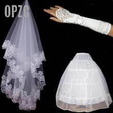Luvas de renda bordada, luvas de renda noiva cesta e 3 anéis branco saia de ponta alta três conjuntos de o acessório do casamento da noiva