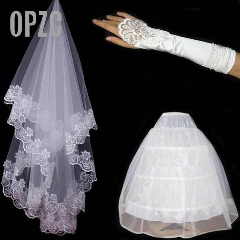 Yarn Embroidery Lace Gloves Gloves Lace Bride's Basket And 3 Rings White Skirt High-end Three Sets Of The Bride Wedding Accessor