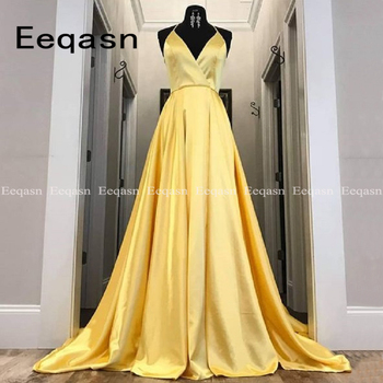 Real Pictures Yellow Halter V Neck Prom Dresses 2020 Stretch Satin Party Graduation Gown with Pockets Sexy  vestidos de fiesta