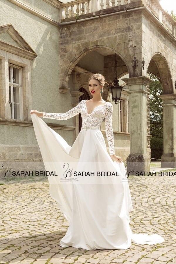 Long Sleeve Lace Beach Wedding Dresses Romantic V Neck Chiffon