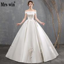 2020 neue Vintage Hochzeit Kleid Mrs Win Luxus Satin Boot ausschnitt Ballkleid Prinzessin Klassische Perlen Vestido De Noiva Plus größe F