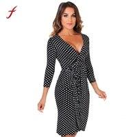 2017 Fashion Ladies S Dress Womens Polka Dot V Neck 3 4 Sleeve Pleated Wrap