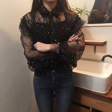 Vintage Women Shirts Full Sleeve Mesh Heavy Industry Palace Wind Perspective Sequins Fold Blouse Shirt Black 6552