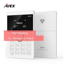 20 pcs/lot Ultra Thin AIEK/AEKU E1 Mini Cell Card Phone Student unlocked Mobile Phone Pocket Phone Low Radiation Multi Language