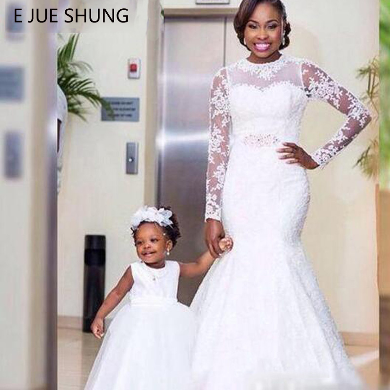 E JUE SHUNG White Lace Simple Mermaid Wedding Dresses 2019 Long Sleeves Wedding Gowns Bride Dresses