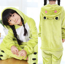 GKWMZG Flannel child pajamas Kigurumi Frog pajama lovely animal Robe Bathrobe winter cosplay kids girl costume.